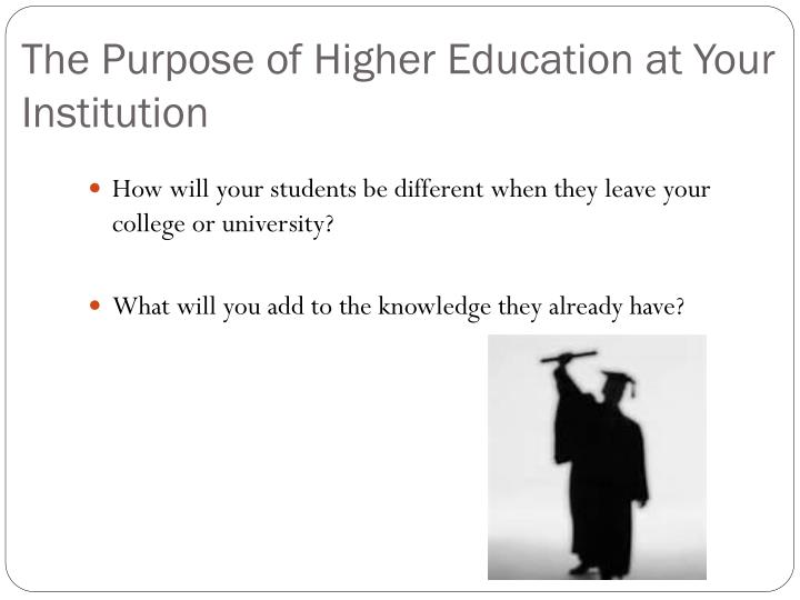 The Purpose of Higher Education at Your Institution