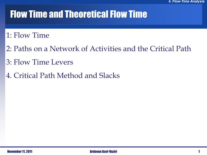 flow time and theoretical flow time n.