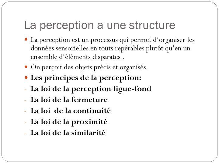La perception a