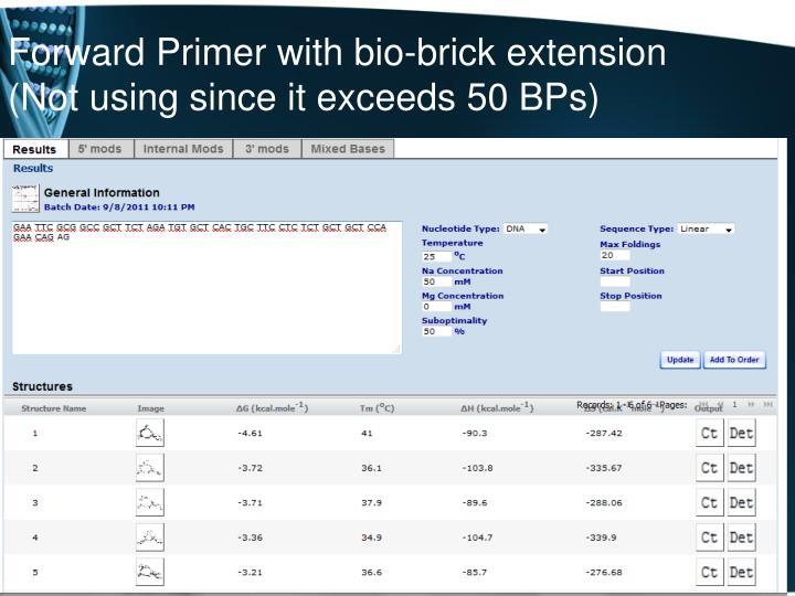 Forward Primer with bio-brick extension