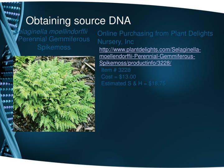 Obtaining source DNA