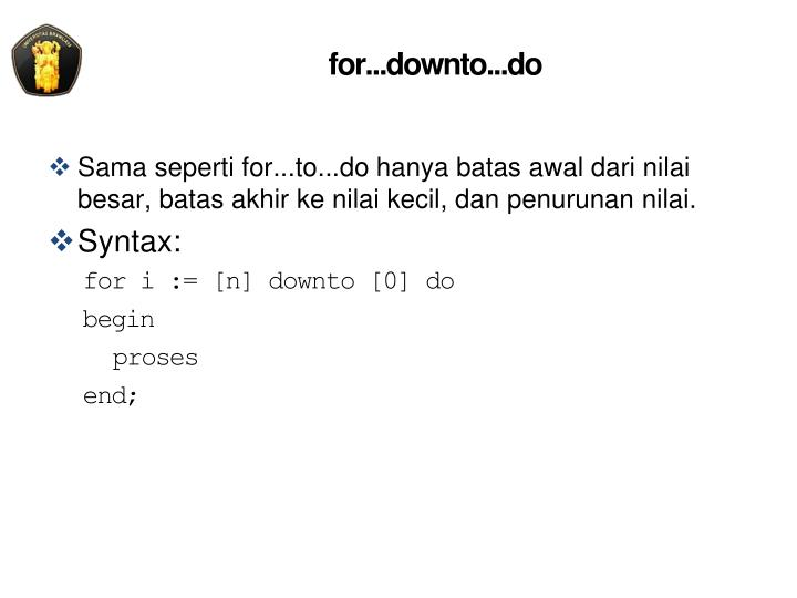 for...downto...do