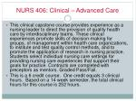 nurs 406 clinical advanced care