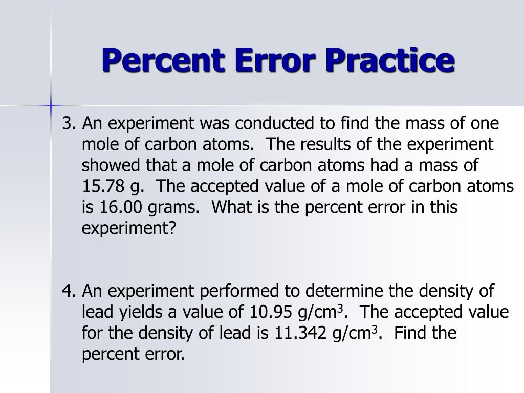 Ppt Unit 2 Percent Error Powerpoint Presentation Id1910392