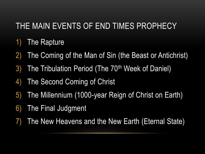 The Main Events of End Times Prophecy