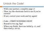 unlock the code1