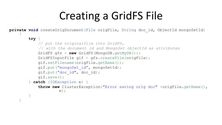Creating a GridFS