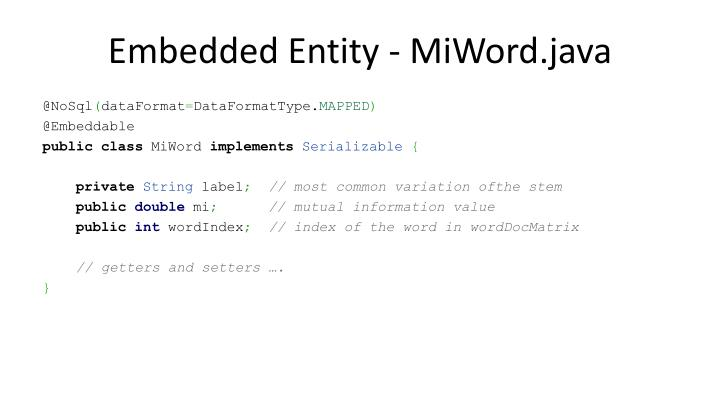Embedded Entity - MiWord.java