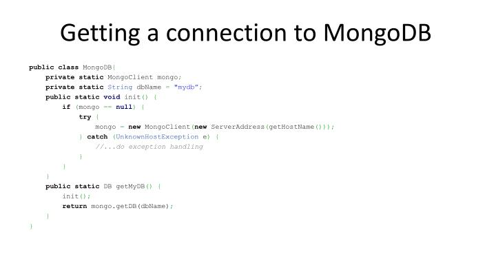 Getting a connection to MongoDB