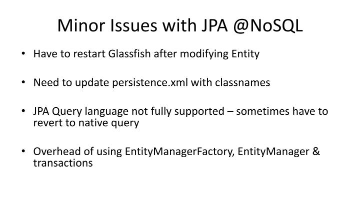 Minor Issues with JPA @NoSQL