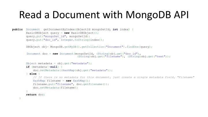 Read a Document with MongoDB API