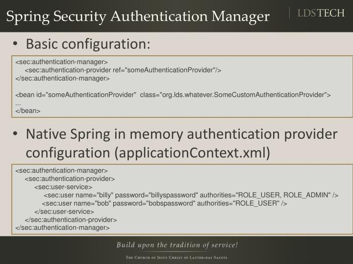 Spring Security Authentication Manager