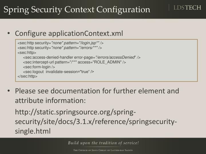 Spring Security Context Configuration