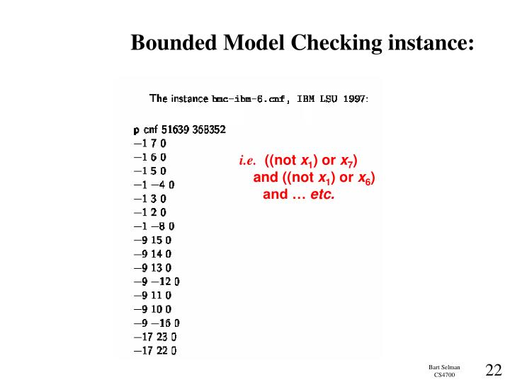 Bounded Model Checking instance: