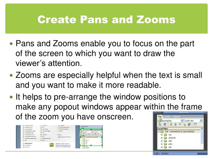 Create Pans and Zooms