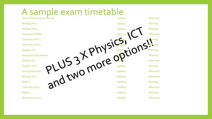 A sample exam timetable