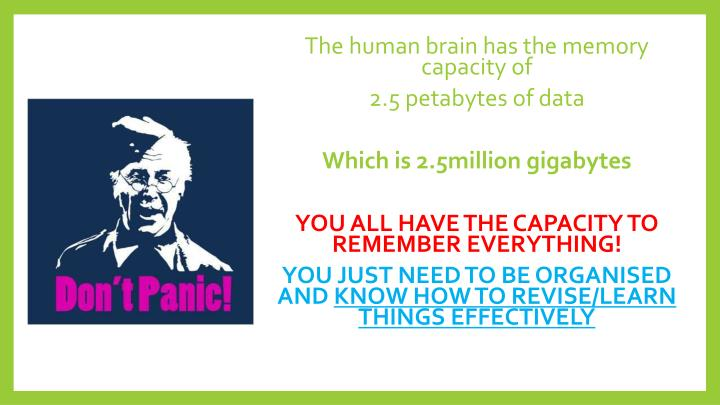 The human brain has the memory capacity of
