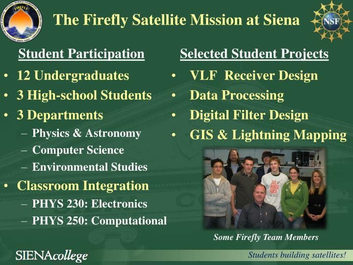 the firefly satellite mission at siena n.
