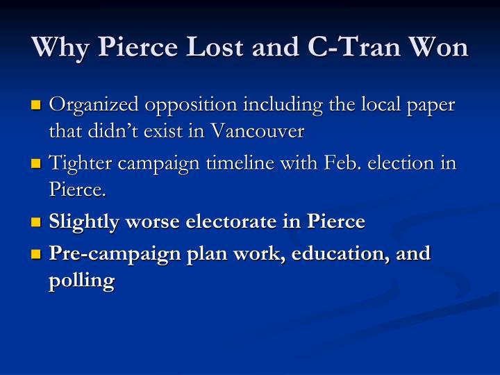 Why Pierce Lost and C-Tran Won