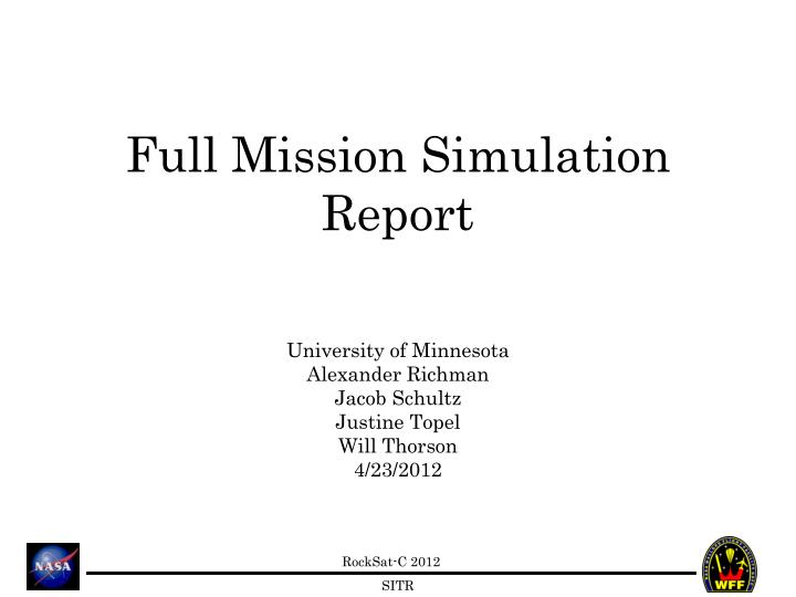 full mission simulation report n.