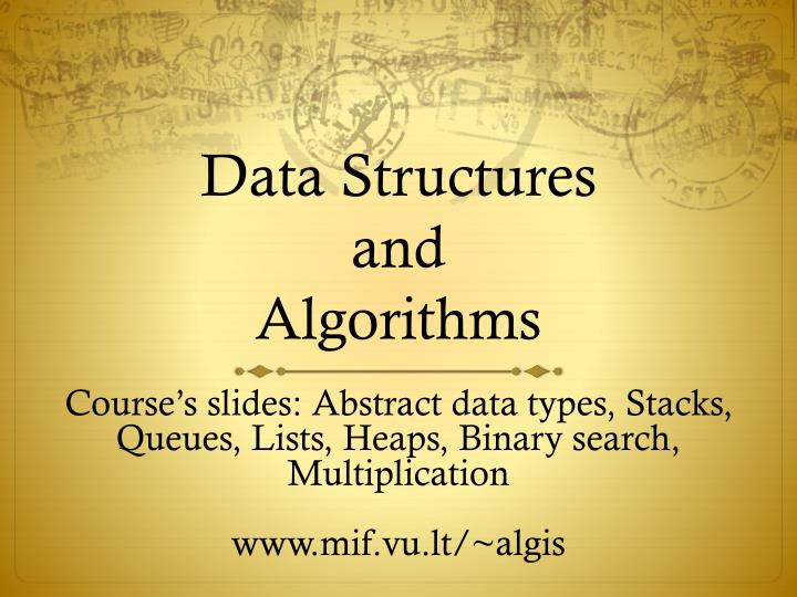 data s tructures and algorithms n.