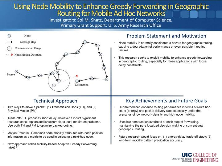 using node mobility to enhance greedy forwarding in geographic routing for mobile ad hoc networks n.
