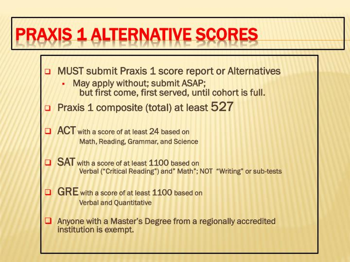 MUST submit Praxis 1 score report or Alternatives