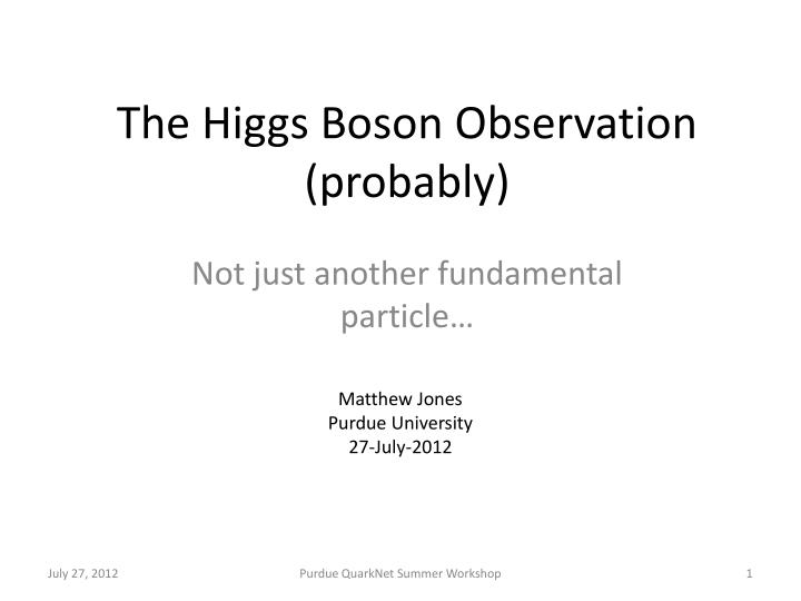 the higgs boson observation probably