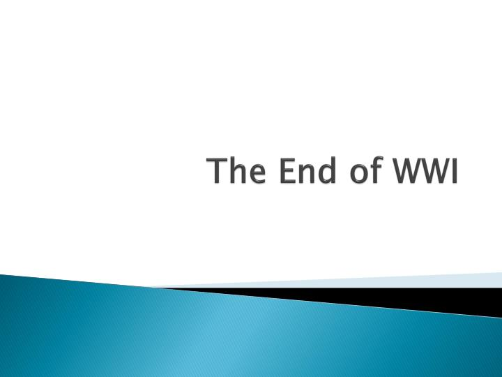 the end of wwi n.