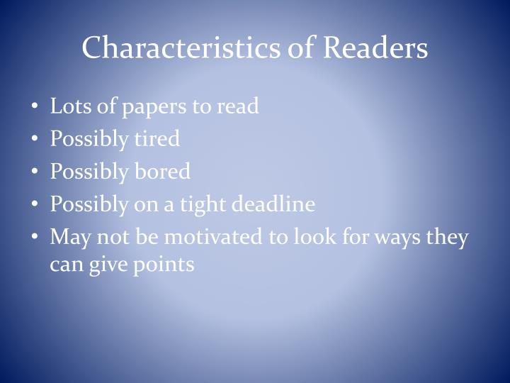 Characteristics of Readers