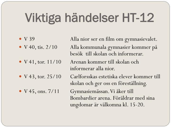 Viktiga händelser HT-12