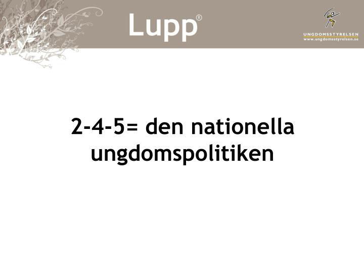 2 4 5 den nationella ungdomspolitiken