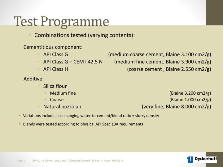 Test programme