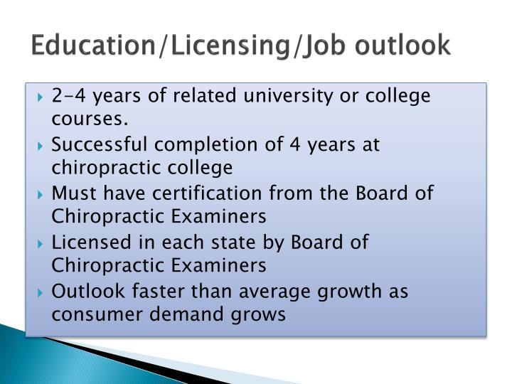 Education/Licensing/Job outlook