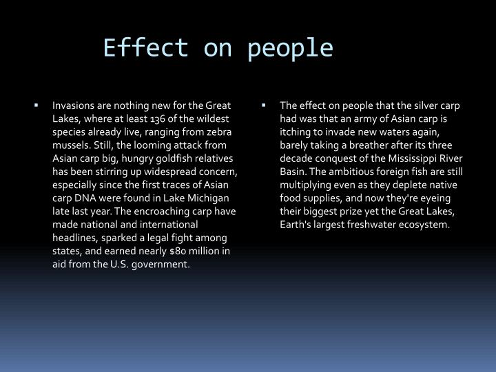 Effect on people