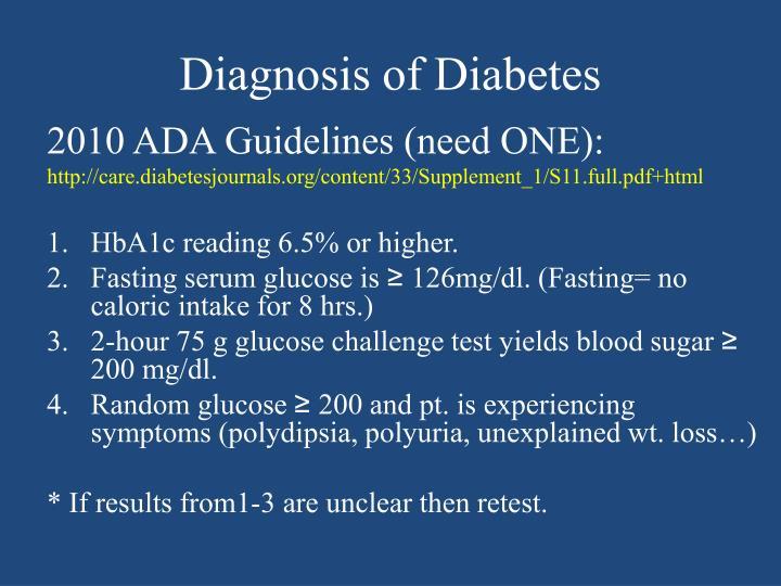 Diagnosis of Diabetes