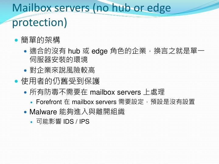 Mailbox servers (no hub or edge protection)