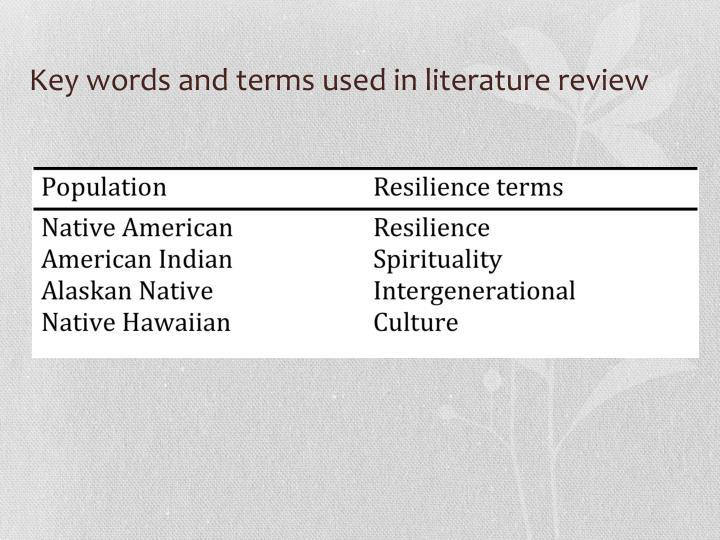 Key words and terms used in literature review