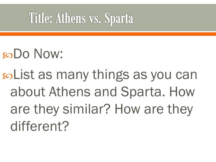Ppt title athens vs sparta powerpoint presentation id1913361 title athens vs sparta ccuart Images