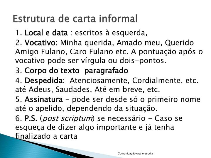 Estrutura de carta informal