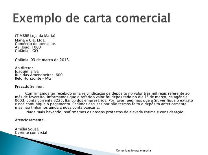 Exemplo de carta comercial