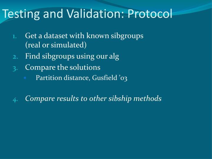 Testing and Validation: Protocol