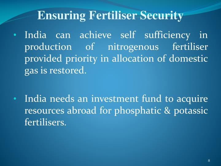 Ensuring Fertiliser Security