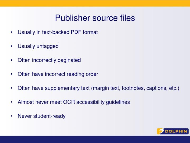 Publisher source files