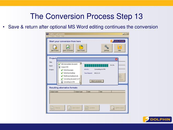 The Conversion Process Step 13