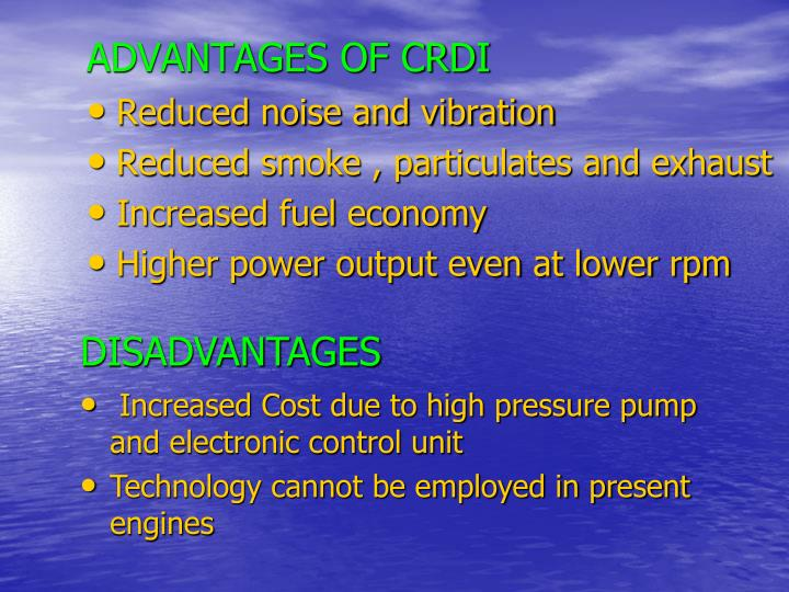 disadvantages of crdi engine