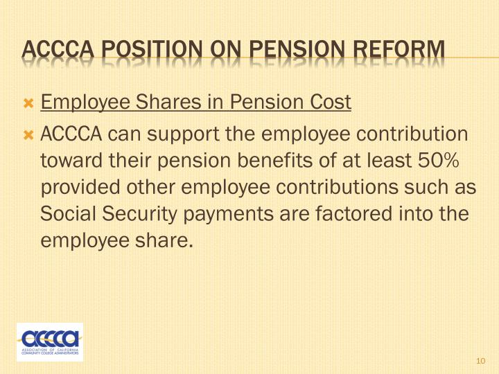 Employee Shares in Pension Cost