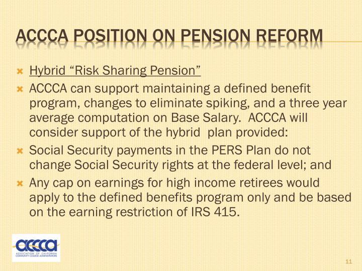 """Hybrid """"Risk Sharing Pension"""""""