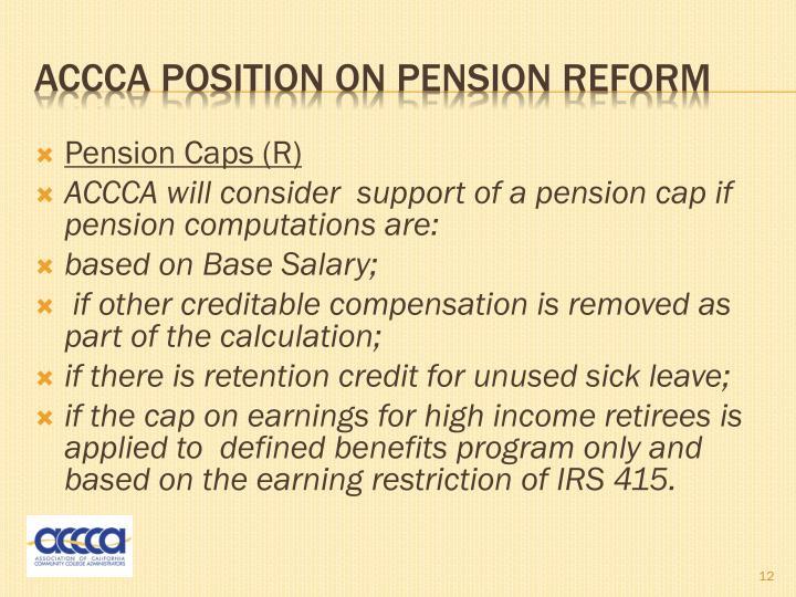 Pension Caps (R)