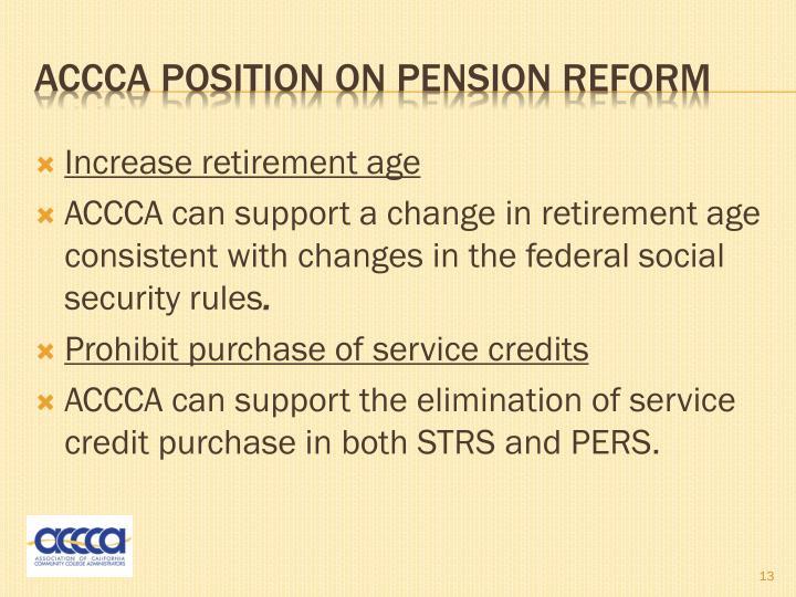 Increase retirement age